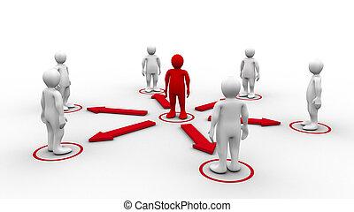 3d-men, verzoeken, 3d-man, omliggend, verbinding, wit rood