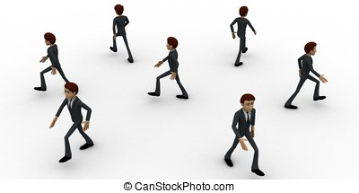 3d men walking in all directions concept