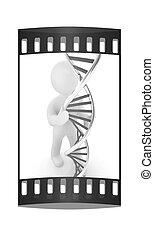 3d men with DNA structure model. The film strip