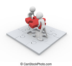 3d men with final puzzle peace - 3D men assembling puzzle -...