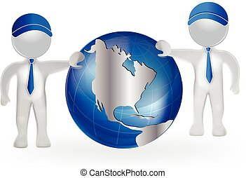 3D men with world map globe vector logo