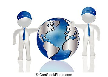3D men with world map globe logo