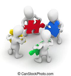 3d Men work together
