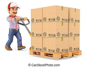 3d, mensajero, hombre de entrega, empujar, un, camión de paleta, con, cajas