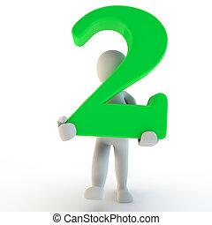 3d, menschliche , charcter, besitz, grün, nr. zwei