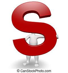 3d, menselijk, charcter, vasthouden, rood, brief s