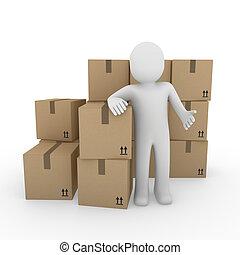 3d, menselijk, expeditie, verpakken