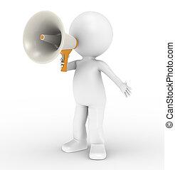 3d, menselijk, karakter, met, megafoon