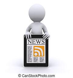 3d, menselijk, lezen, zijn, online nieuws