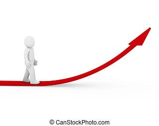 3d, menselijk, richtingwijzer, succes, groei, rood