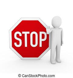 3d, menselijk, stoppen, rood, meldingsbord