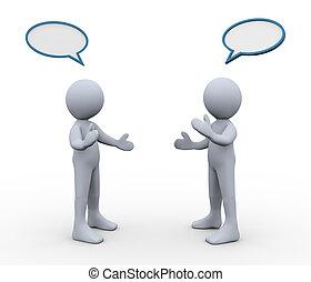 3d, mensen, discussie