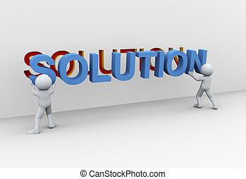 3d, mensen, en, oplossing
