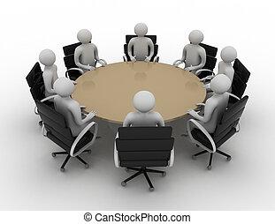 3d, mensen, -, sessie, achter, een, ronde, tafel., 3d, image., vrijstaand