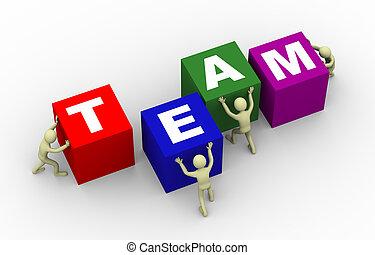 3d, mensen, voortvarend, team, blokje
