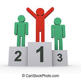 3d, mensen, winnaars