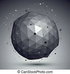 3D mesh modern style abstract background, spherical origami...