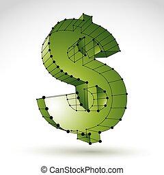 3d mesh stylish web green dollar sign isolated on white backgrou