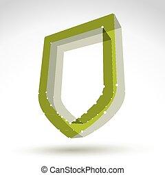 3d mesh web green shield icon