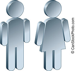 3d, metálico, macho, femininas
