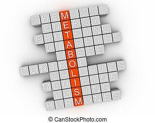 3d Metabolism word cloud concept - Illustration