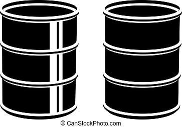 3D metal barrel black symbol