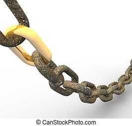 3d metal chain with a gold link on a white background isolated