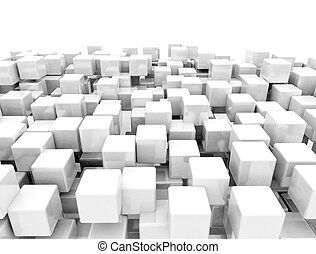 3D metal cubes background isolated on white