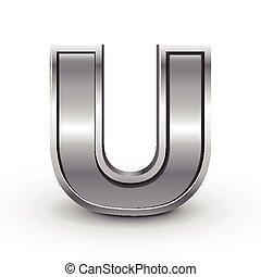 3d metal letter U