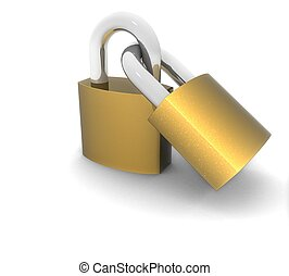 3d metal locks on a white background