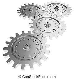 3d, metal, roda engrenagem, render, branco, fundo