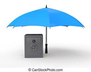 3d metal safe under umbrella