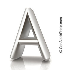 "3D metall letter ""A"" isolated on white"
