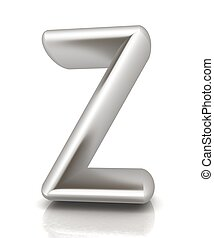 "3D metall letter ""Z"" isolated on white"