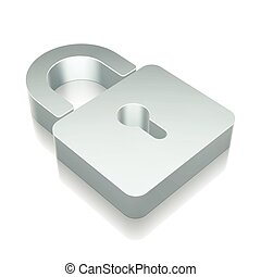 3d metallic Closed Padlock icon with reflection, vector illustration.
