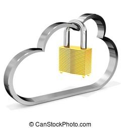 3d metallic cloud with padlock