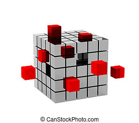 3d metallic cube with red cubes