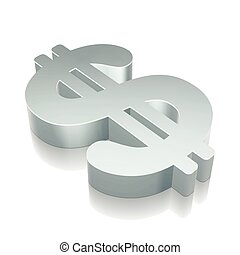 3d metallic Dollar icon with reflection, vector illustration.