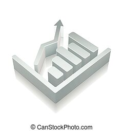 3d metallic Growth Graph icon with reflection, vector illustration.