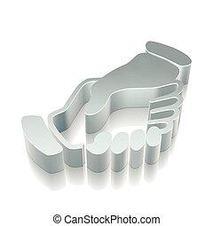 3d metallic Handshake icon with reflection, vector illustration.