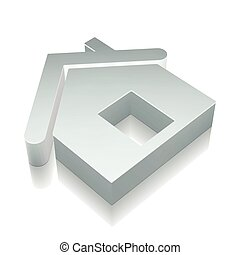 3d metallic Home icon with reflection, vector illustration.