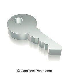 3d metallic Key icon with reflection, vector illustration.