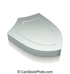 3d metallic Shield icon with reflection, vector illustration.