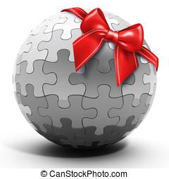 3d metallic spherical puzzle