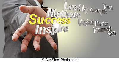 3d metallic success diagram as concept - business man hand...