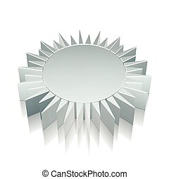 3d metallic Sun icon with reflection, vector illustration.