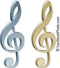 3d metallic violin clefs