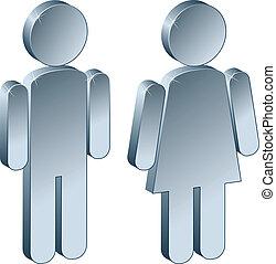 3d, metallisch, mann, weibliche