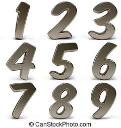 3d, metallo, numeri