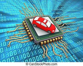 3d microchip - 3d illustration of microchip over digital...